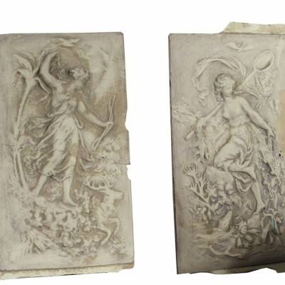Pair Of 19th Century Plaster Wall Plaques