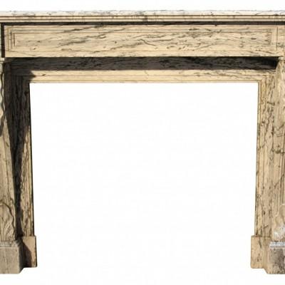 19th Century French Louis Xvi Bleu Fleuri Marble Fireplace
