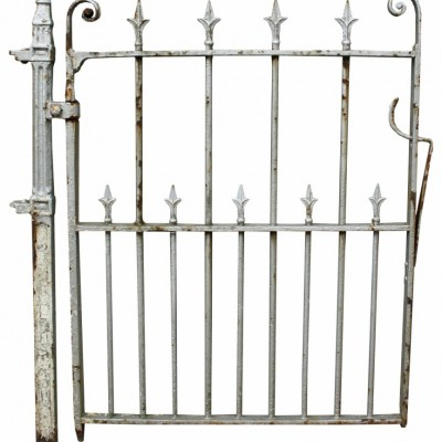 Antique Wrought Iron Pedestrian / Side Gate With Post