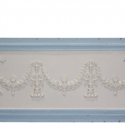 Antique Painted French Wall Panel With Applied Decoration