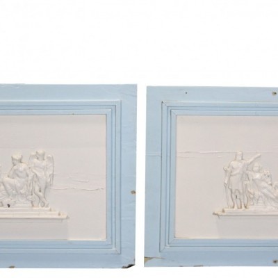 Pair Of Painted French Wall Panels With Applied Decoration