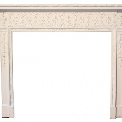 Georgian Style Painted Pine And Gesso Fire Surround