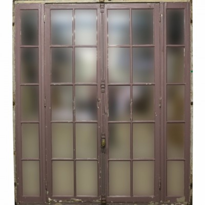 Pair Of Antique Painted French Mirrored Doors With Frame