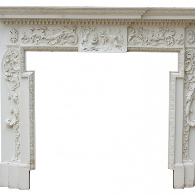 Breakfront Carved Painted Pine Fire Surround