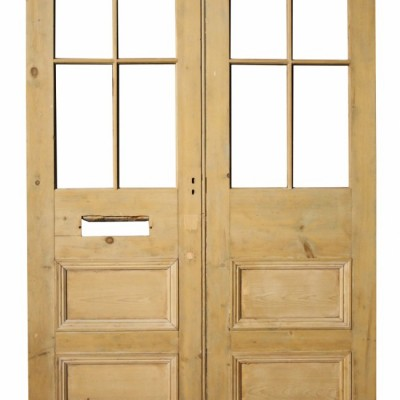 Pair Of Antique Stripped Pine Exterior Double Doors