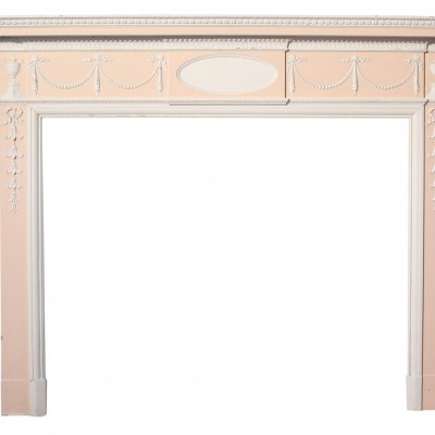 Large 19th Century Painted Pine And Gesso Fire Surround