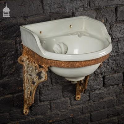 Small Victorian Cloakroom Basin on Cast Iron Bracket