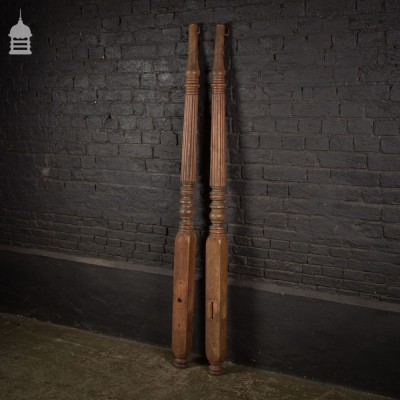 Pair of 19th C Carved Fruitwood Pillars Bed Posts