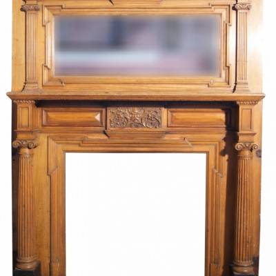 Large Carved Walnut Fire Surround C. 1880