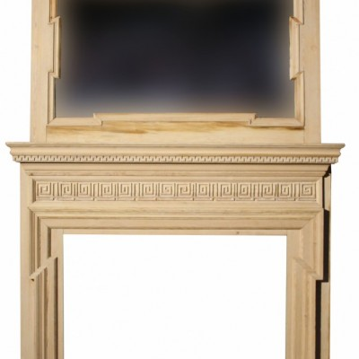 Large Mid-19th C. Carved Pine Chimneypiece With Over Mantle