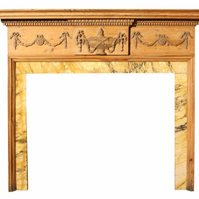 Early 19th C. Carved Pine Fire Surround