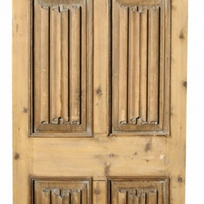 Antique Carved Pine Linen Fold Panel Door