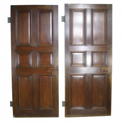 Set Of Three Georgian Oak Raised And Fielded Six Panel Doors