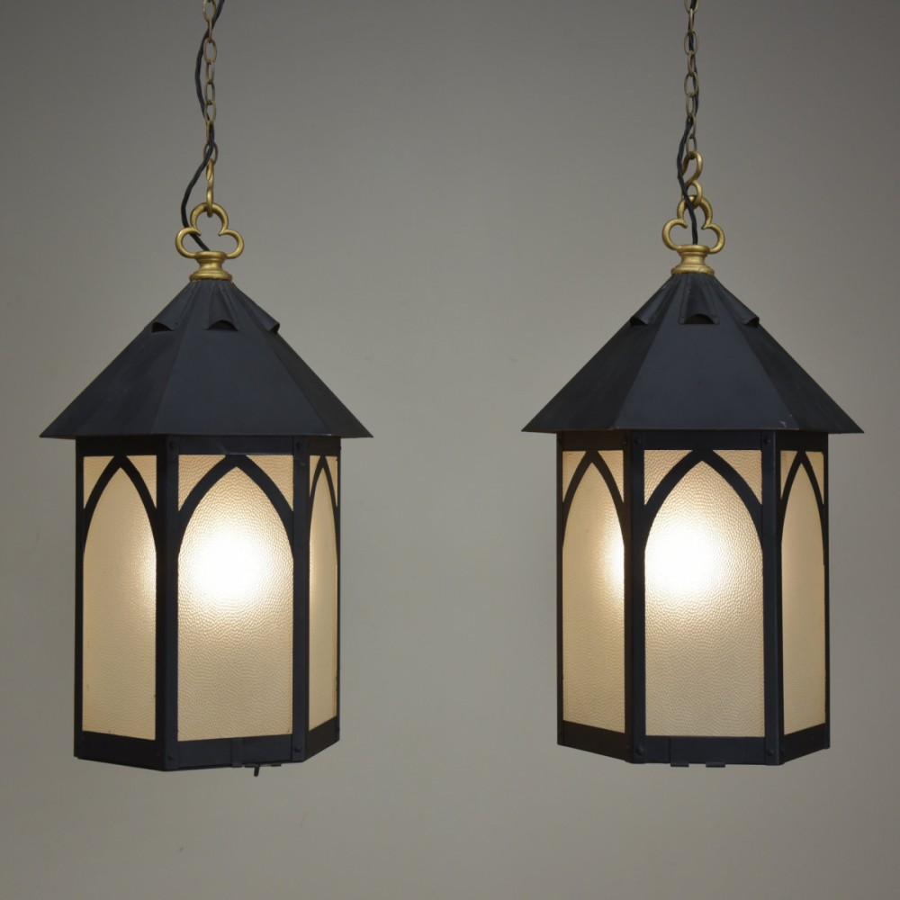 Two Pairs Antique Gothic Lanterns