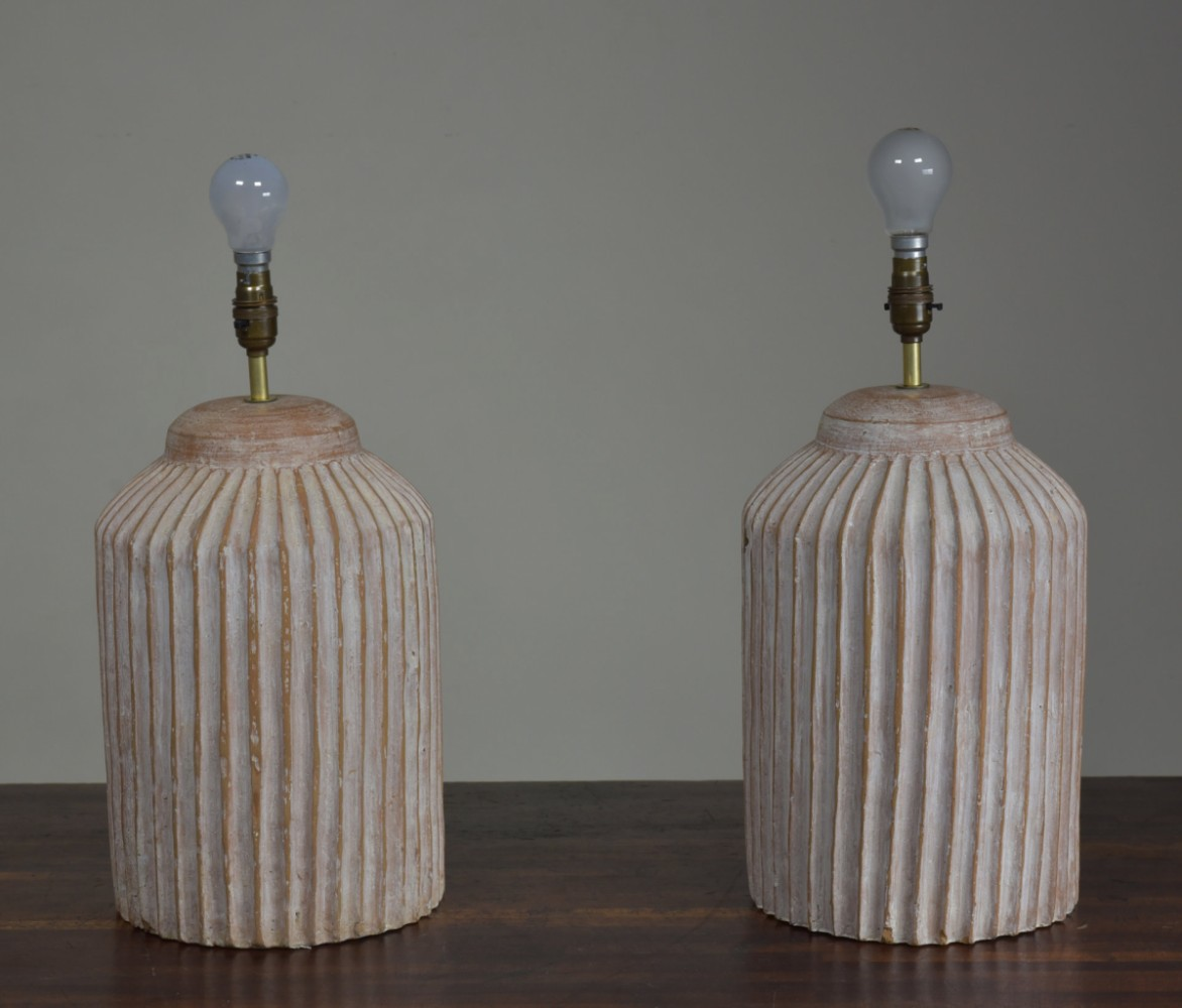 Pair Terracotta Fluted Table Lamps
