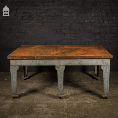Enormous Industrial Cast Iron Surface Table with 6 Legs