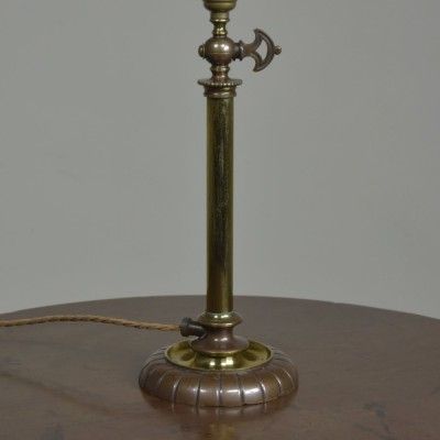 Antique brass gas table lamp