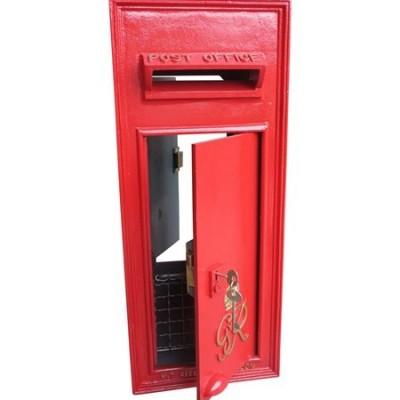 Cast Iron Anitque Wall Mounted Original Post Box with Rear Door