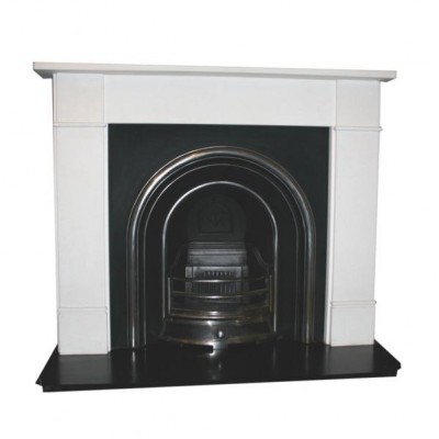 Stone surround with cast iron insert.