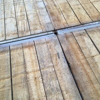 Reclaimed hardwood and metal shuttering panels