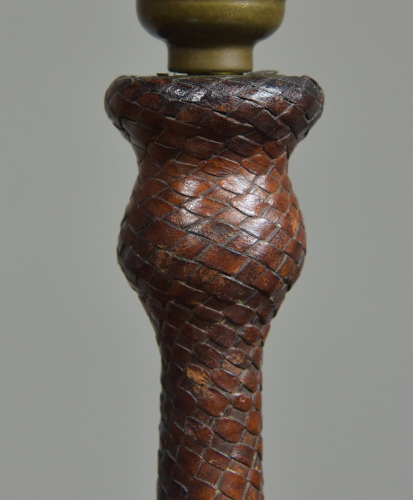 Antique woven leather covered table lamp