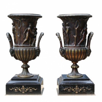 Pair Of Late 19th Century Decorative French Bronze Urns