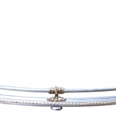 19th Century Polished Steel And Bronze Mounted Curved Steel Fender