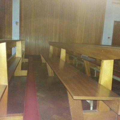 Large quantity mahogany pews from 1960s church interior