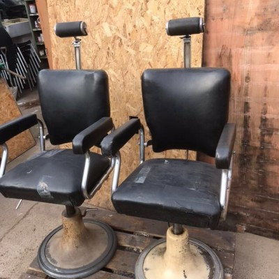 Pair of Vintage Reclaimed Barbers Chairs