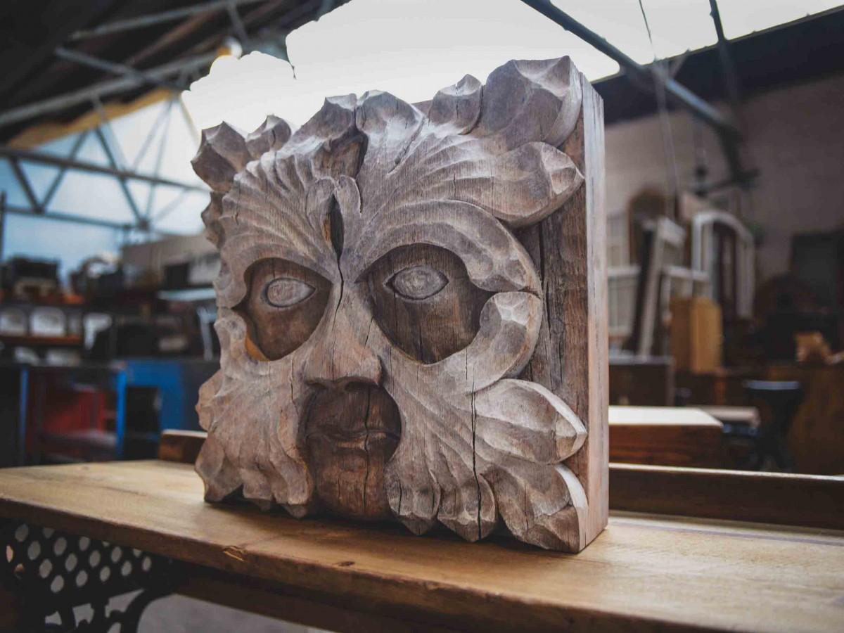 Wood spirit greenman original wood carving cottonwood bark tree