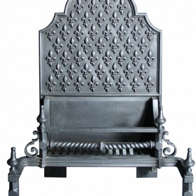 Large 19th C. Cast Iron Fire Grate