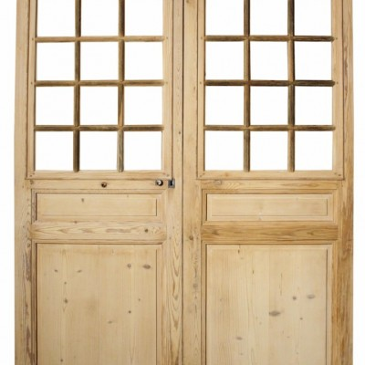 Pair Of Antique / Reclaimed French Glazed Pine Double Doors