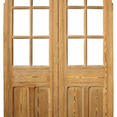 Pair Of Late 19th C. Glazed Pine Chapel Doors