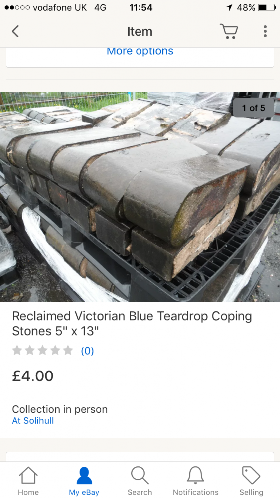 Coping blue teardrop brick external corner