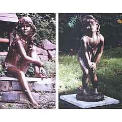 Two bronze resin children stolen