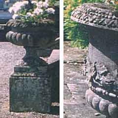 Six stone urns stolen