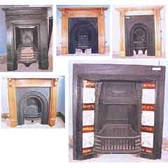 Five cast iron fireplaces