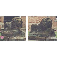 Pair of carved red sandstone lions