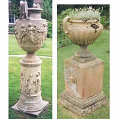 One stoneware urn and one terracotta urn