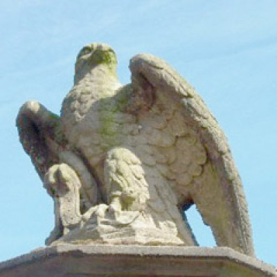 Pair of stone falcons