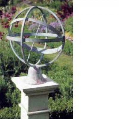 Brass armillary sundial and stone plinth
