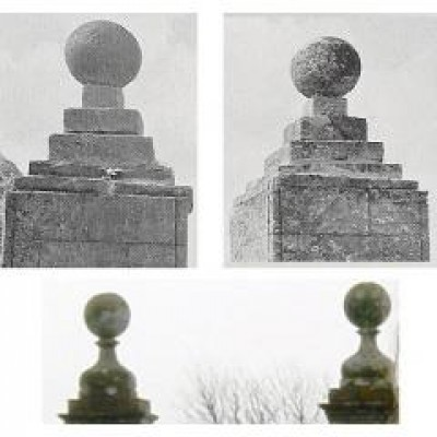 Four stone ball finials