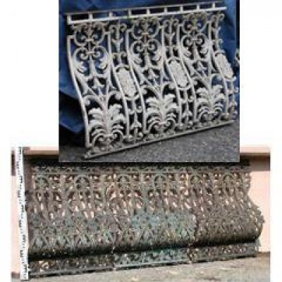 Two runs of cast iron balustrade