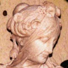Marble bust of veiled woman