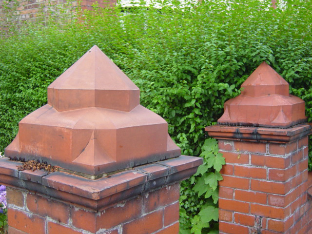 Terra Cotta Pier Caps, Pair