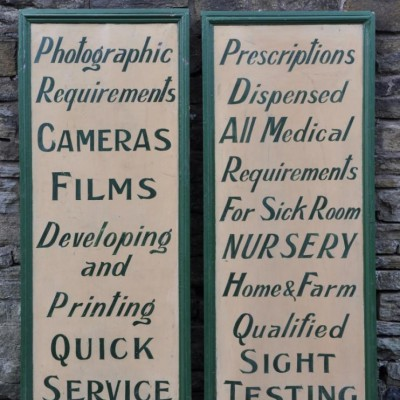pair of large antique shop advertising boards