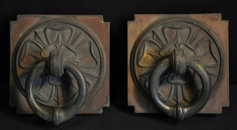 pair of bronze art deco pulls handles