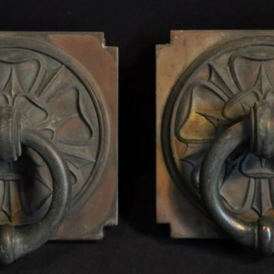 pair of bronze art deco pulls handles