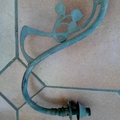 Twin/double Art deco/nouveau, Arts and crafts brass gas ceiling lamp/pendant