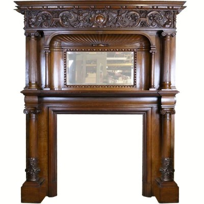 Victorian Oak Fire Surround with Overmantel
